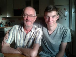 Les and Andrew at home