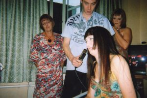 Christi doing Hin's hair Ria Susan London 2006