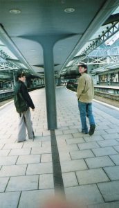 Hin and Chris waiting for Dom Piccadilly March 2003