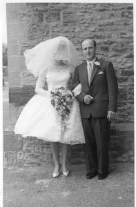 Eileen and Cyril Walke at Elstow Abbey Bedford for marriage to John Mathews